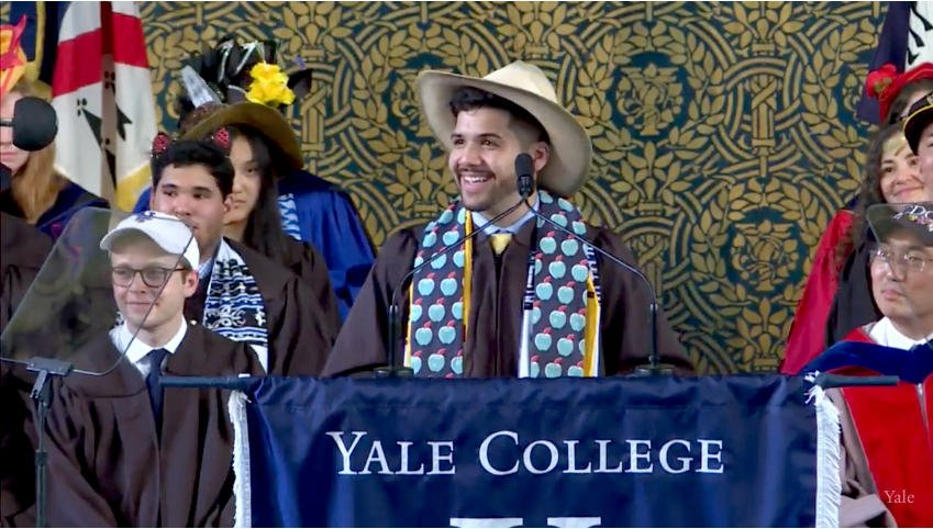 """Christian E. Rice reads the Class Reflection """"To Build a Home"""" #Yale2018 https://t.co/VOY9ZmGJKd"""