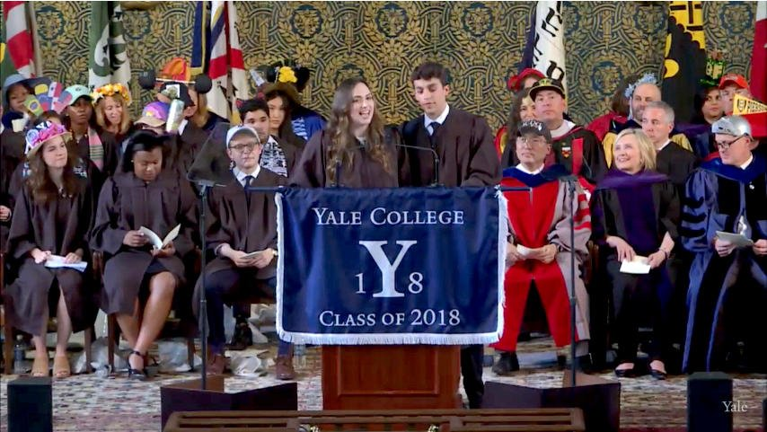 """Ben Kronengold and Rebecca Shaw read the Class Reflection """"Moving On"""" #Yale2018 https://t.co/OxMFiOQN8n"""