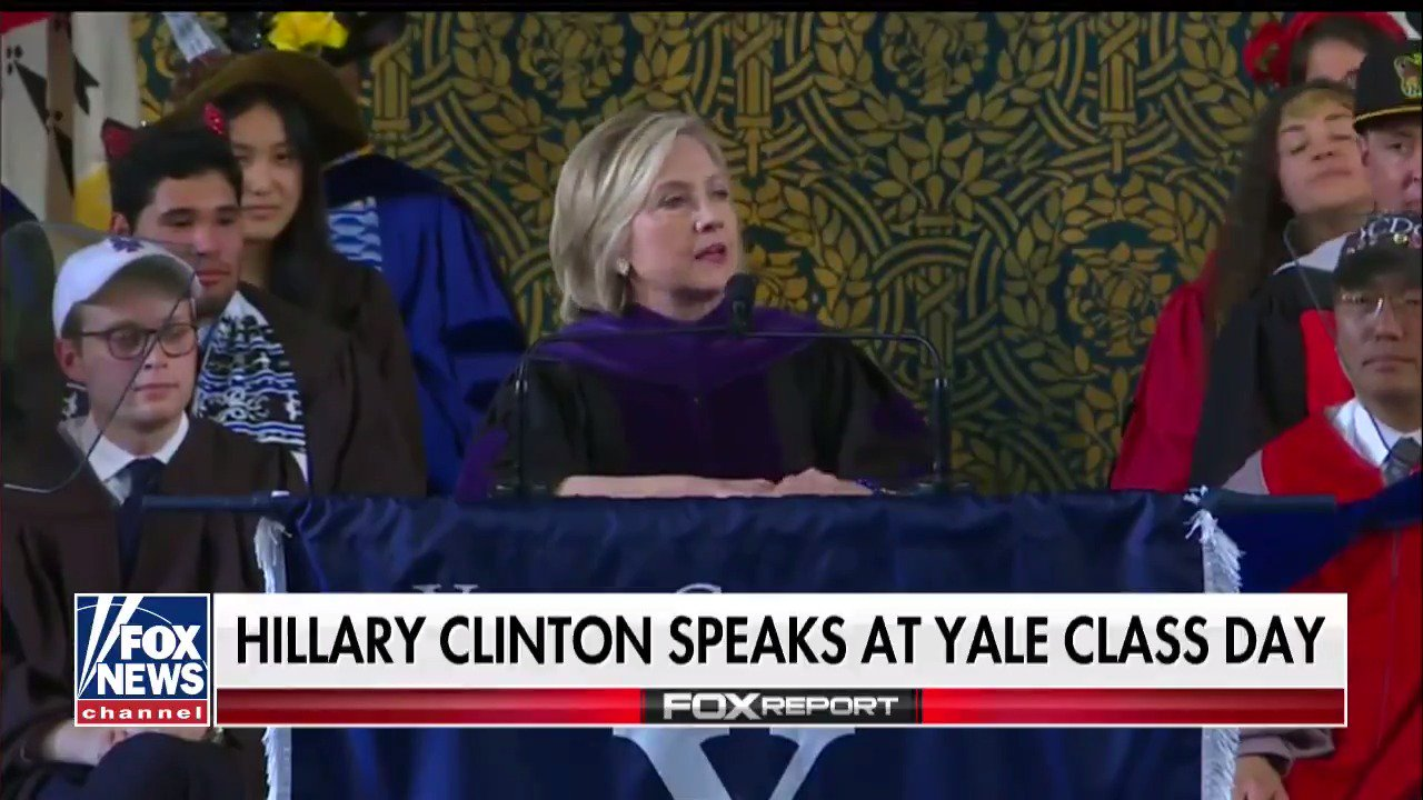 'No, I'm not over it': Hillary Clinton jabs Trump, shows off Russian hat at Yale Class Day https://t.co/UtYRuarUHa https://t.co/PLTtNHDxQH