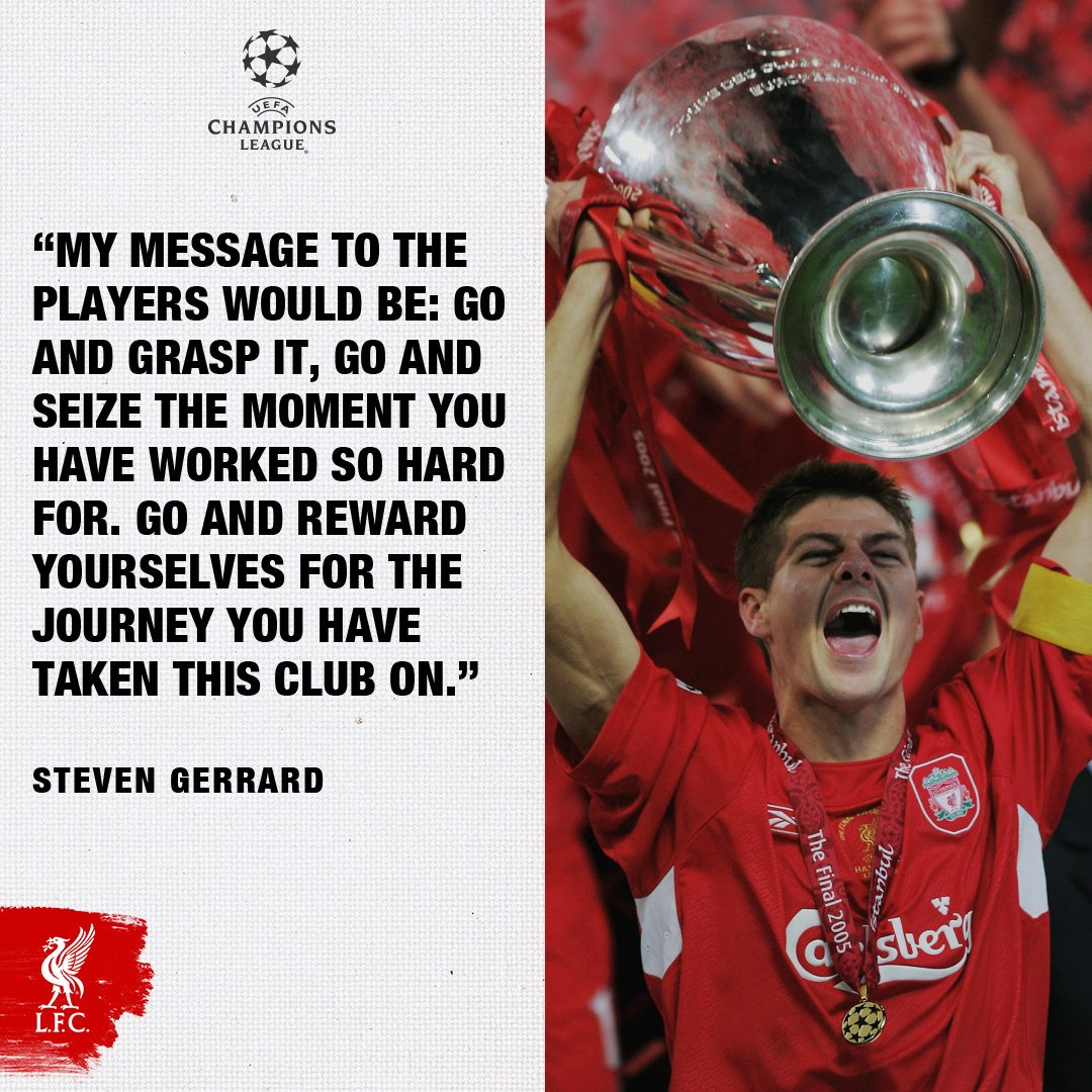 'They are the moments that you dream of' ��  Gerrard's #UCLfinal message to #LFC squad: https://t.co/z5pWf16uTk https://t.co/Pc0XZaysek