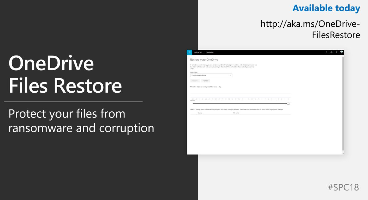 RT @SharePoint: [Out now] @OneDrive File Restore! https://t.co/nxWFJYvtF4 #SPC18 https://t.co/uwDU5Cj42Y