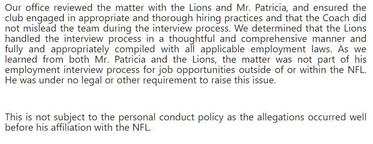 RT @Justin_Rogers: The league's statement after meeting with the Lions and Patricia. https://t.co/sfUQXrS8t2