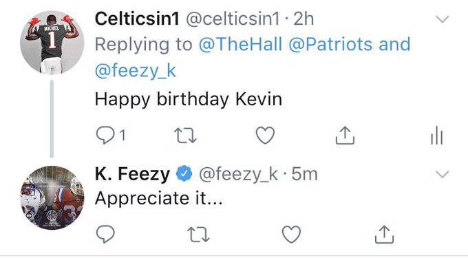 Aye happy Birthday Kevin Faulk thanks for the reply