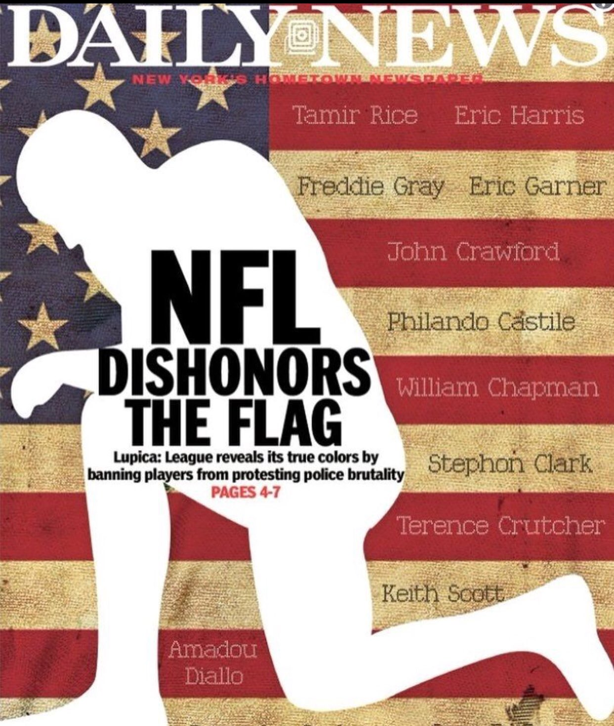 I deeply disagree with the decision of the NFL.   Their decision is an affront to the American ideal of protest and free speech. https://t.co/93SsUuplZX