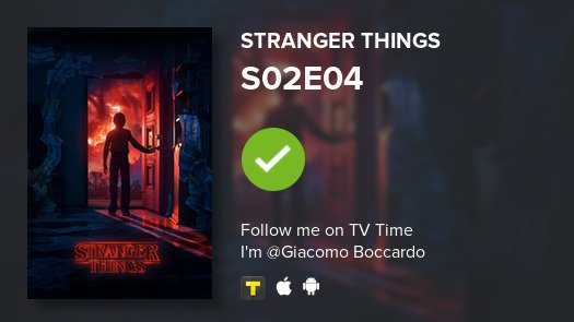 test Twitter Media - I've just watched episode S02E04 of Stranger Things! #StrangerThings  #tvtime https://t.co/mdWbpc4ILS https://t.co/4JlsE87vd8