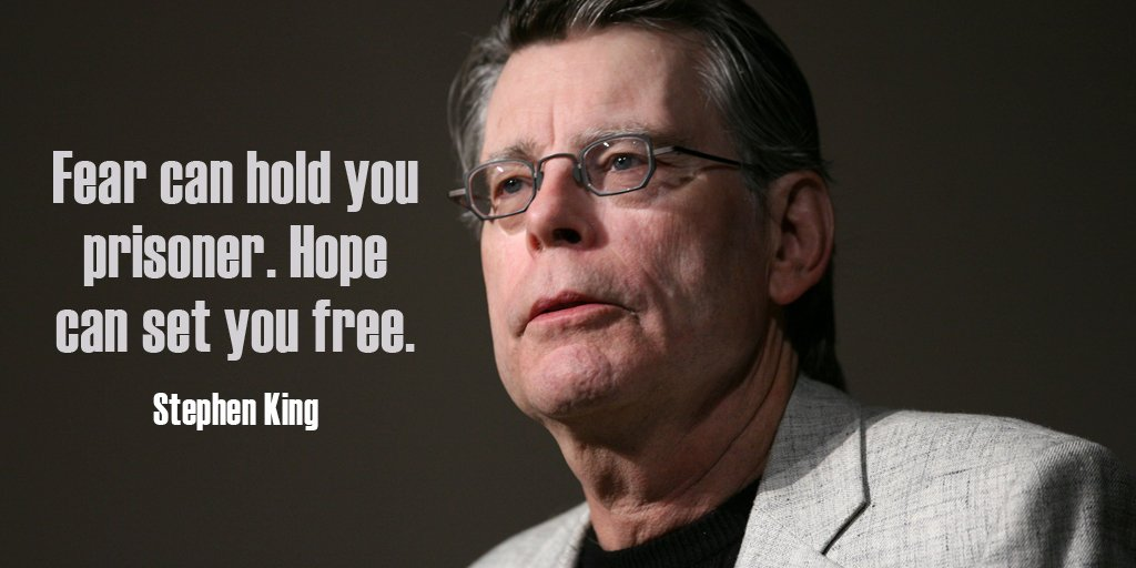 Fear can hold you prisoner. Hope can set you free. - Stephen King #quote #ThursdayThoughts https://t.co/vUbBoWXCsf