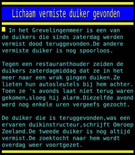 test Twitter Media - Lichaam vermiste duiker gevonden https://t.co/rU98SpMtCy