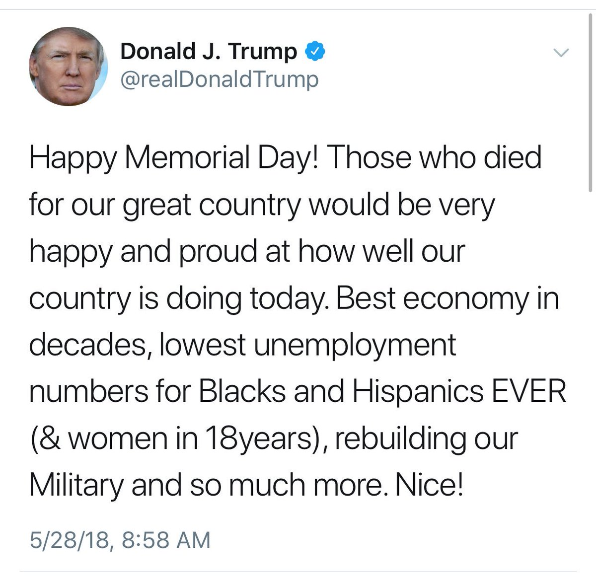 """This is the most inappropriate #MemorialDay comment that a @POTUS has ever made. Self-promotion on a day to remember the fallen, and wishing those remembering their deceased loved ones a """"happy"""" holiday is appalling. #CadetBoneSpurs"""