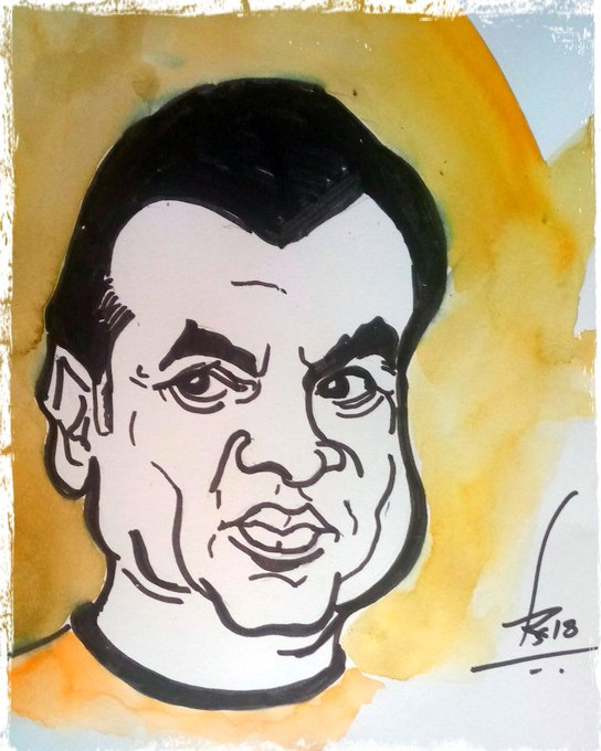 Caricature of my favourite actor Paresh Rawal Happy birthday Sir Sketch pen and watercolor on A paper 20 min.