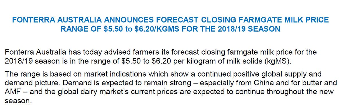 And we have a milk price - $5.50/kgMS - $6.20...