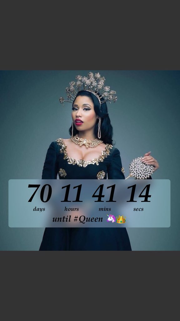 RT @Barbzovo: 70 Days until #Queen ???? 08.10.18 @NICKIMINAJ https://t.co/lfozMbDnQr