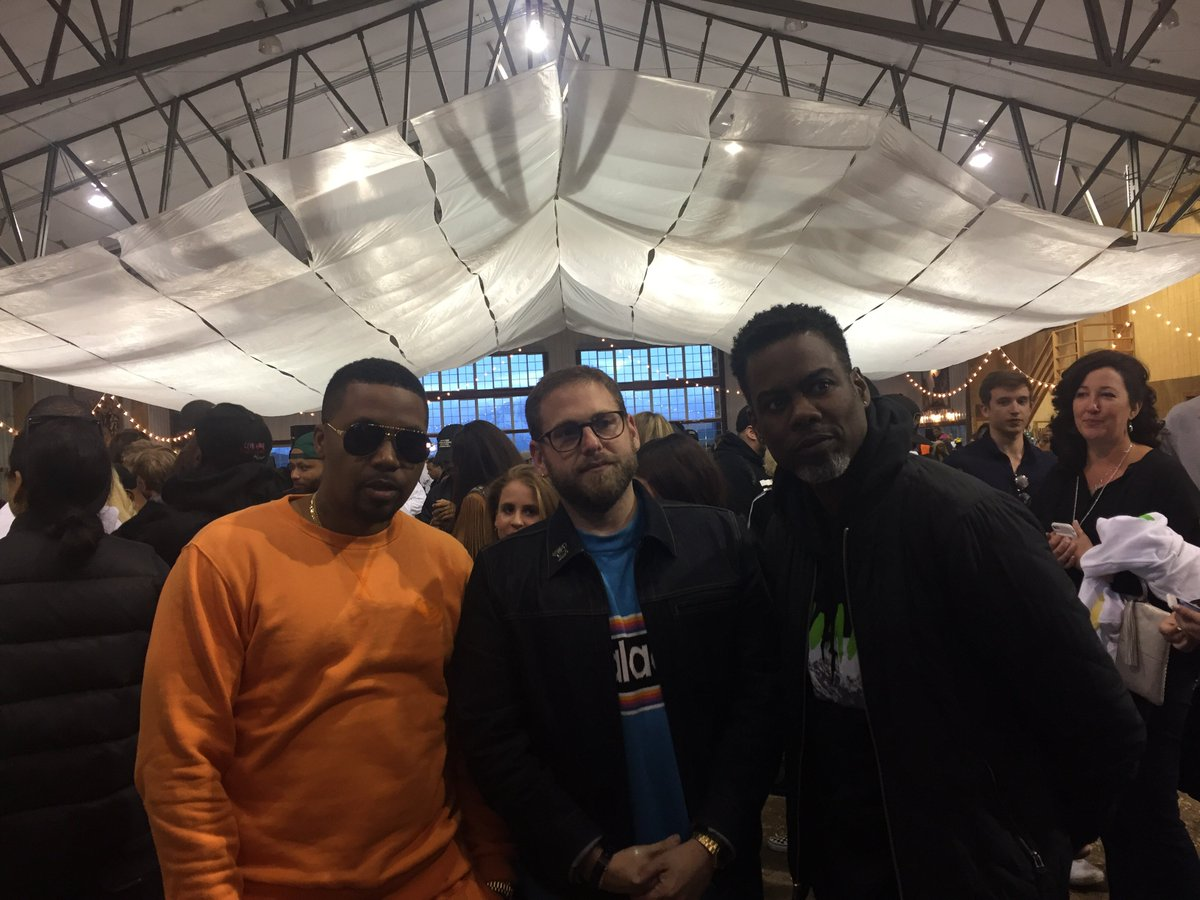 Nas, @JonahHill, and @chrisrock are at Kanye West's ProjectWyoming listening party.