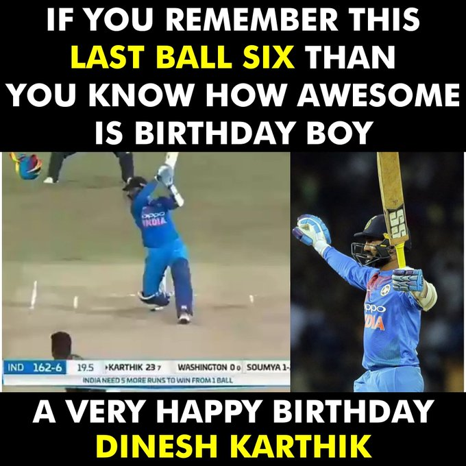 A very Happy Birthday Dinesh Karthik.