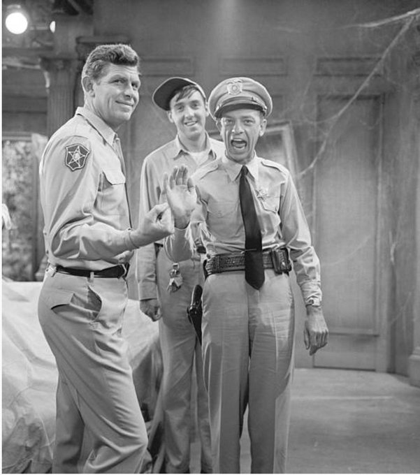 Happy birthday Andy Griffith. Between scenes of The Andy Griffith Show, with Don Knotts & Jim Nabors CBS, 1963