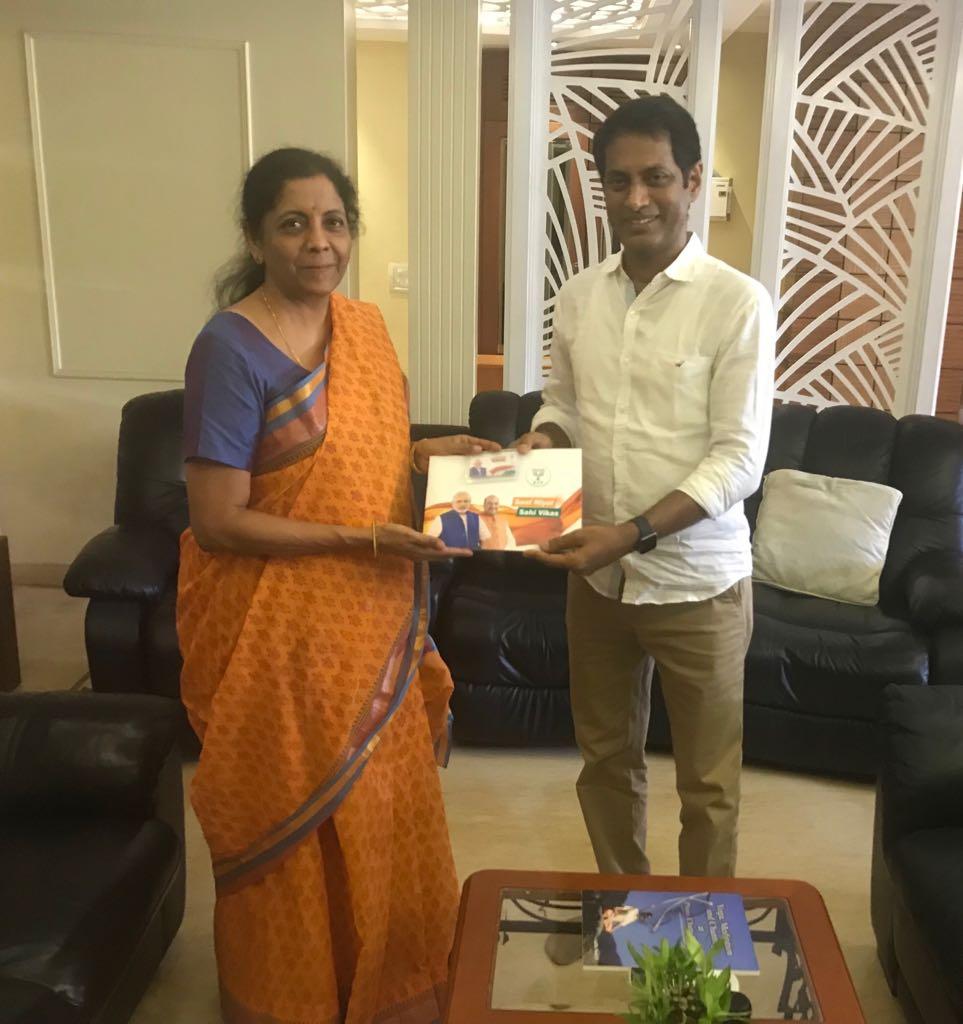 Smt @nsitharaman meets Shri Kalyanasundaram, CMD, Polimer TV, as part of #SamparkForSamarthan