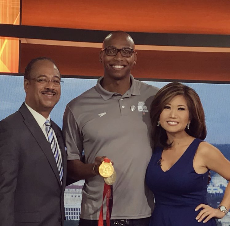 Two-time Olympic Gold Medalist Cullen Jones! He didn't learn how to swim until later in life.. and look at what he achieved!  🥇🥇 He is now helping children learn to swim at a low cost or at no cost — Thanks to USA swimming Foundation. Sign up! @TonyPerkinsFOX5 @fox5dc https://t.co/bgG3M3k0b9