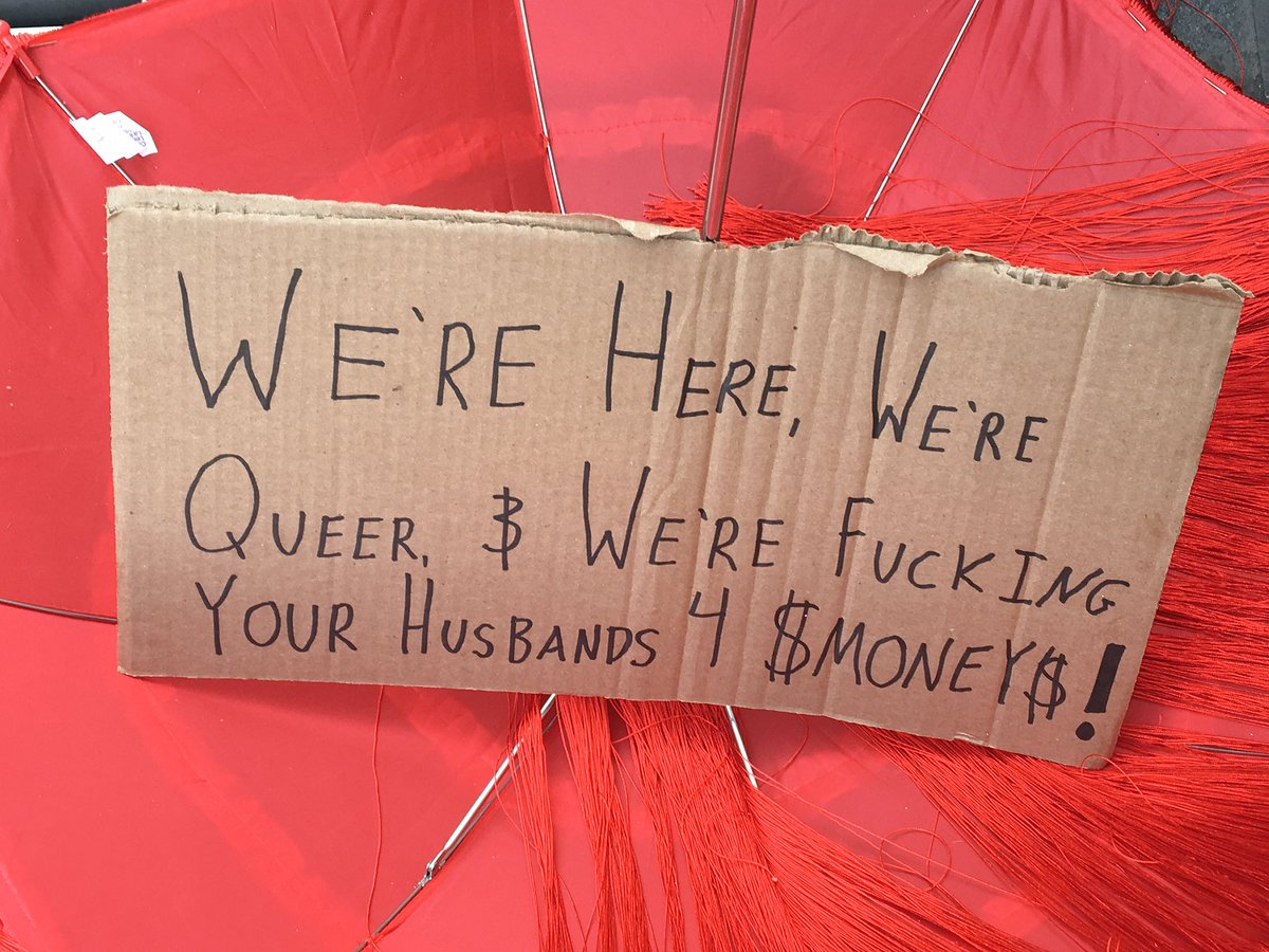 2 pic. Just a few of my fave signs from the #InternationalSexWorkerDay march VCsJXy6JEn