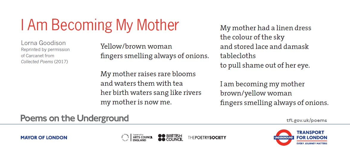 test Twitter Media - My mother raises rare blooms and waters them with tea her birth waters sang like rivers my mother is now me.  from 'I am Becoming My Mother' by Lorna Goodison, in the latest Poems on the Underground set  Read on and order the free posters in this set: https://t.co/33Gbi9GtuD https://t.co/1WukfaQkIf