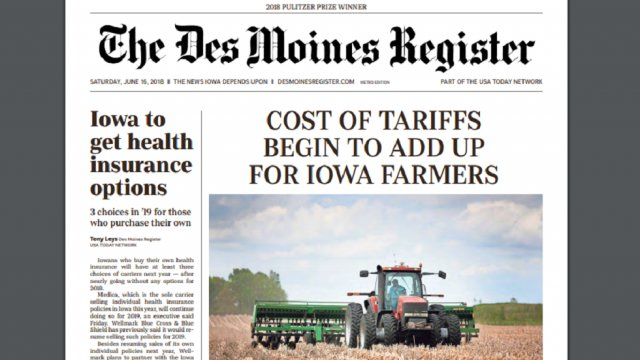 Major Iowa newspaper uses front page to warn Trump tariffs could cost state $624 million https://t.co/HV8tkyx9ul https://t.co/nGaaKXh8Nq