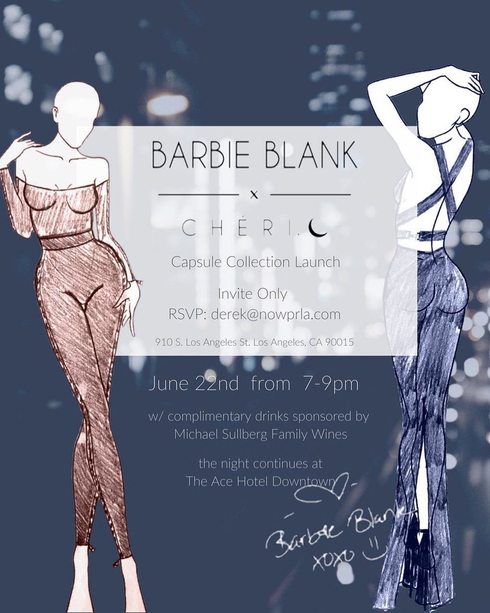 RT @BBlankdotnet: Barbie Blank x Cheri & Co.' Capsule Collection Launch June 22nd from 7-9pm! ???? (@TheBarbieBlank) https://t.co/sKu9ZOVaj6