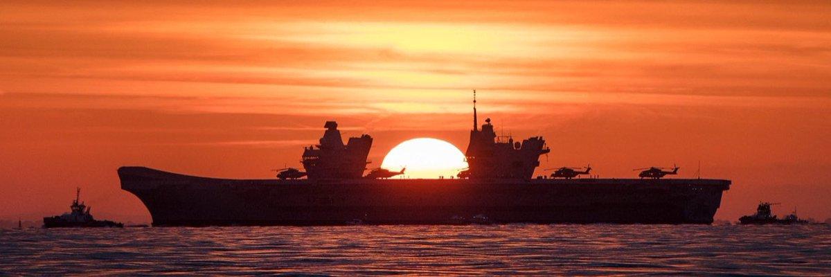 RT @UKDefJournal: HMS Queen Elizabeth at sunset. #SupercarrierSunday https://t.co/Q5uooJ15di
