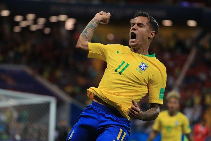 @BroadcastImagem: Philippe Coutinho marca o primeiro gol do Brasil diante da Suíça na Copa, em Rostov. Eduardo Nicolau/Estadão