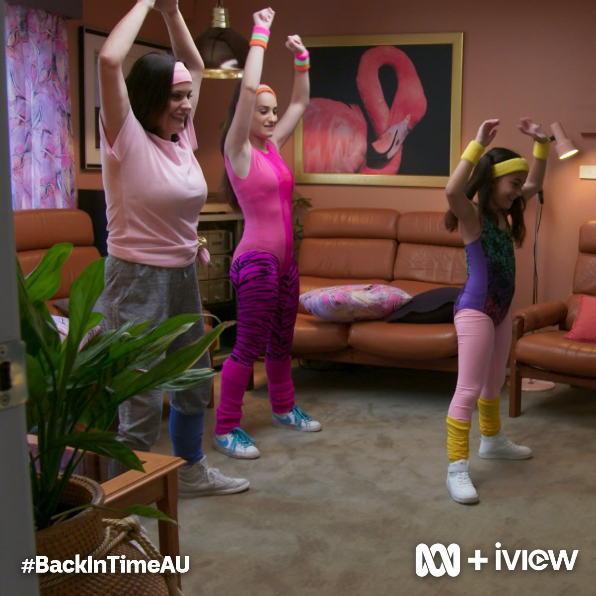 The Ferrone Family Get Physical In Their Lounge Room With An 80s Aerobic Workout Video Backintimeau