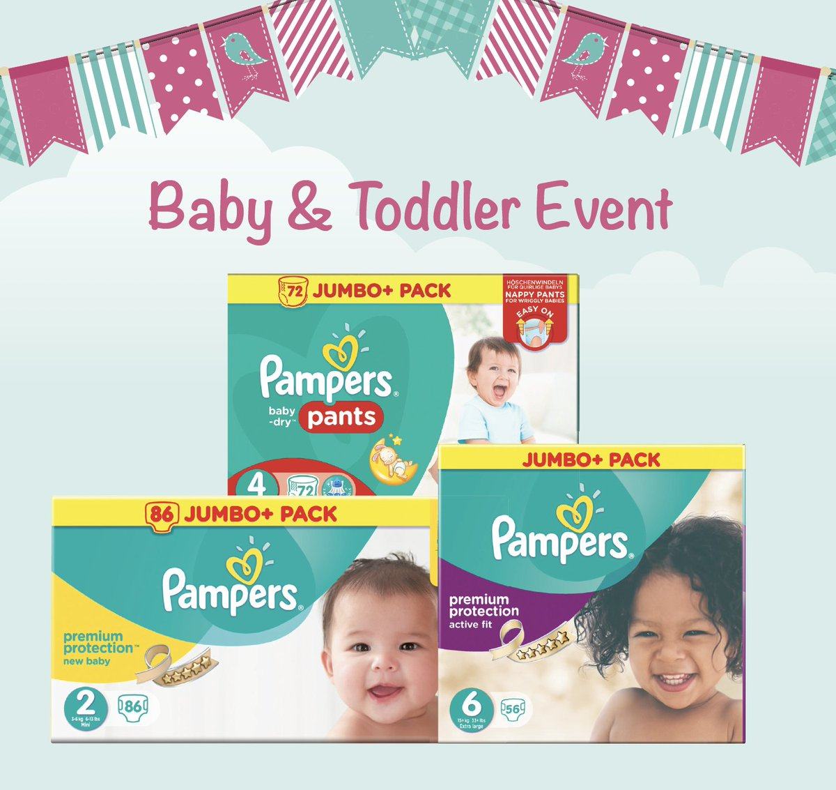 Only €10 each PAMPERS JUMBO + ACTIVE FIT/ACTIVE FIT PANTS/ BABY DRY PANTS/PREMIUM PROTECTION https://t.co/Rd1rb4MCDu