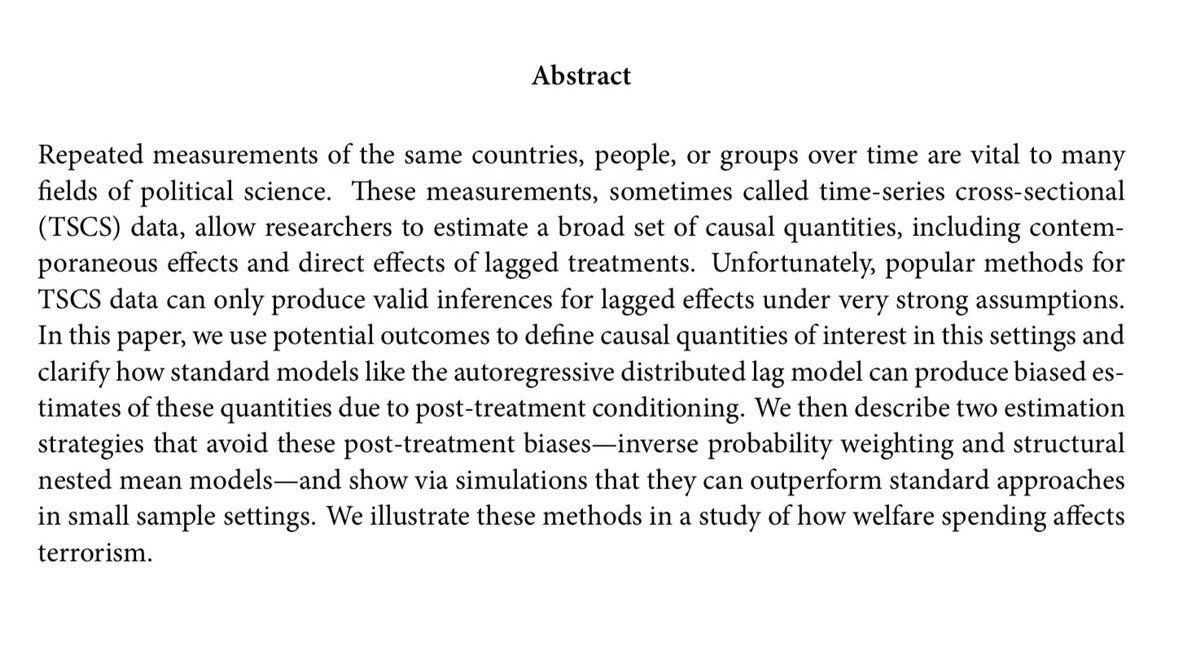 test Twitter Media - My paper with Adam Glynn on causal inference in TSCS data is now forthcoming in the APSR. We show how standard models like the ADL can have severe bias for lagged effects.  https://t.co/WAERbnw3jV https://t.co/ByzsCKYjiF