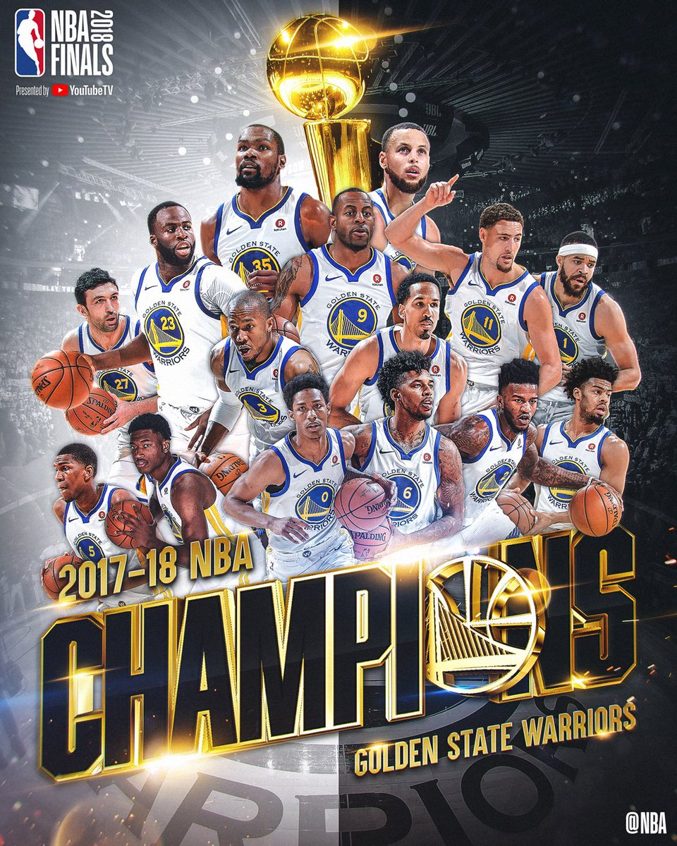 RT @NBA: The 2018 NBA Champions... Golden State @Warriors!   #DubNation #NBAFinals #ThisIsWhyWePlay ???????????????????????? https://t.co/204NrgyDyk