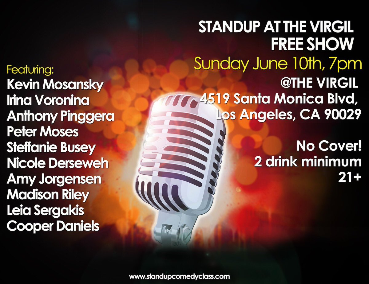 Tomorrow! #FREE #STANDUPSHOW The Virgil - 7pm! Come out for some laughs! CRTwiZ0OLj