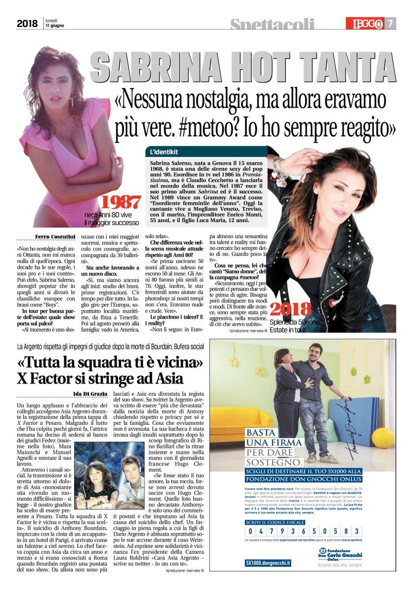 Oggi sul #FreePress @leggoit Grazie a @davidedesario #tour #live2018 ##MeToo #Boys #Summer #me #SabrinaSalerno https://t.co/3NmY9MbBTO