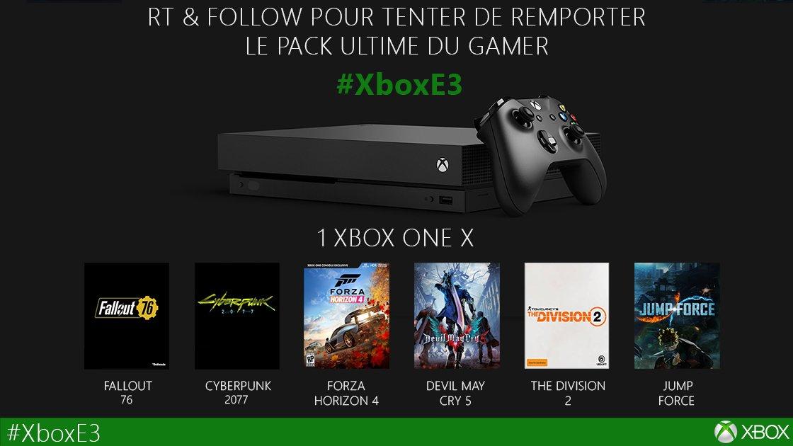 Pour fêter l'#XboxE3 comme il se doit, RT & Follow pour tenter de gagner le pack ultime du gamer !  Bonne chance à tous ! 💚  #XboxLovesYou