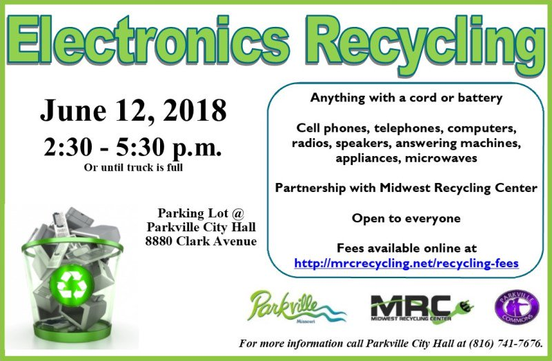 test Twitter Media - Don't forget to check out these recycling opportunities tomorrow @parkvillemo. Electronics recycling for everyone! Paper shredding for Parkville residents! Both events begin at 2:30 p.m. at the Parkville City Hall parking lot. https://t.co/Cuk166yE3G