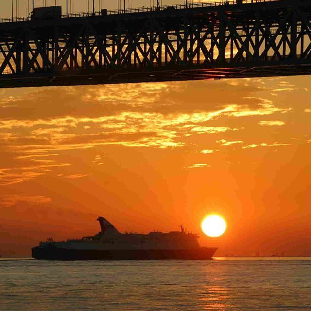 兵庫県立舞子公園から見た明石海峡にを行き交う船と沈む夕陽  10月頃に沈む夕陽は明石海峡大橋や行き交う船とも重なり合う絶好の夕陽スポットで見る時間帯によっては橋の上下で空の色が青からオレンジに変わる眺めも楽しめます。 #神戸 #ひょうごの景観 #舞子公園 #明石海峡大橋 #夕日 #神戸市 https://t.co/jyNh45yttB
