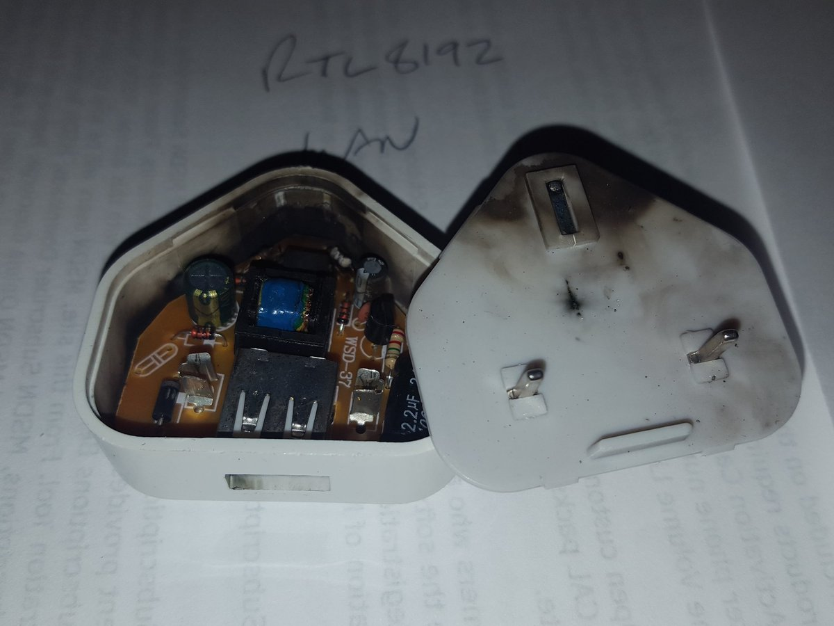 test Twitter Media - RT @ExtElec: DON'T BUY CHEAP USB CHARGERS  and yes this did briefly put 240v down the USB cable... one ex-phone... https://t.co/T7YbOSh6uO