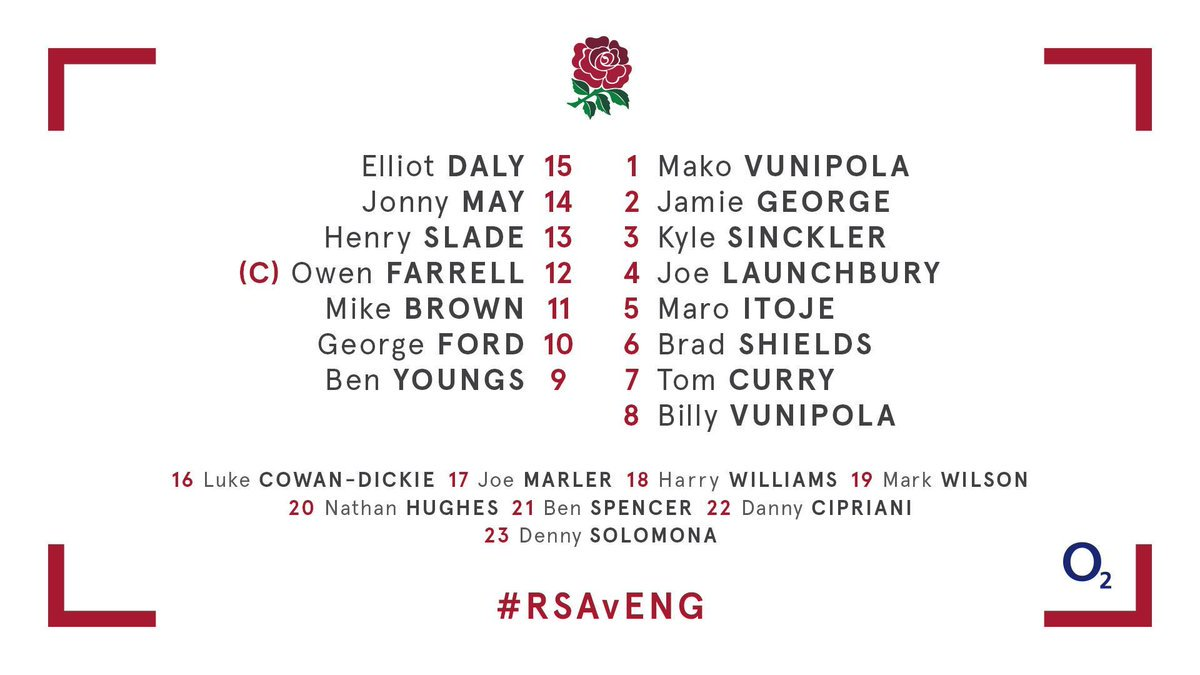 test Twitter Media - 👏 Brad Shields earns his first start 👀 Danny Cipriani on the bench The England side to face the Springboks in the second Test at Bloemfontein 🌹 https://t.co/Q0pxt7B8hB
