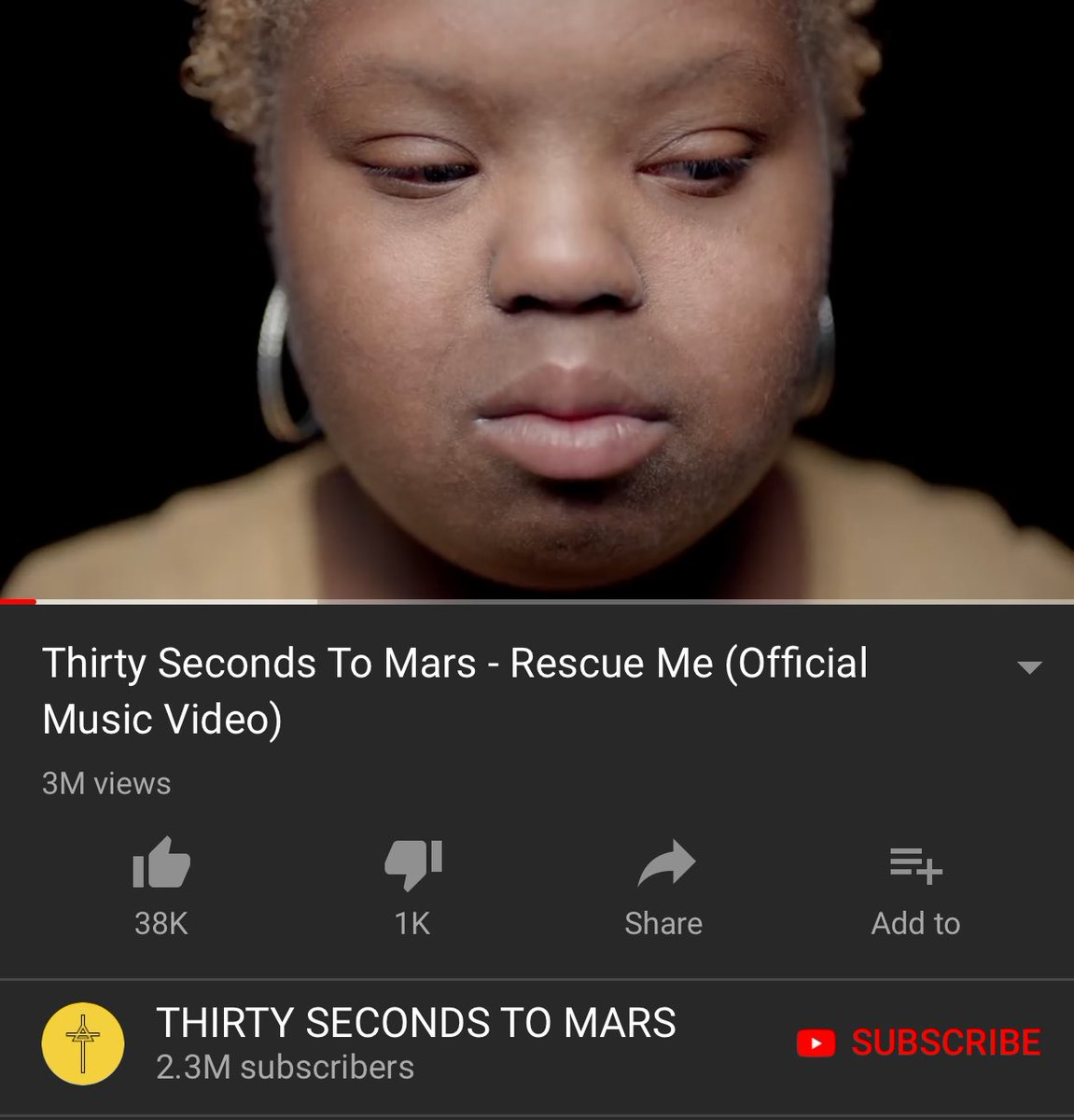 RT @SyaidaRahman: Its already 3M views on YouTube! ⁦@JaredLeto⁩ ⁦@30SECONDSTOMARS⁩! Congratulations! https://t.co/peS2vlOhJN