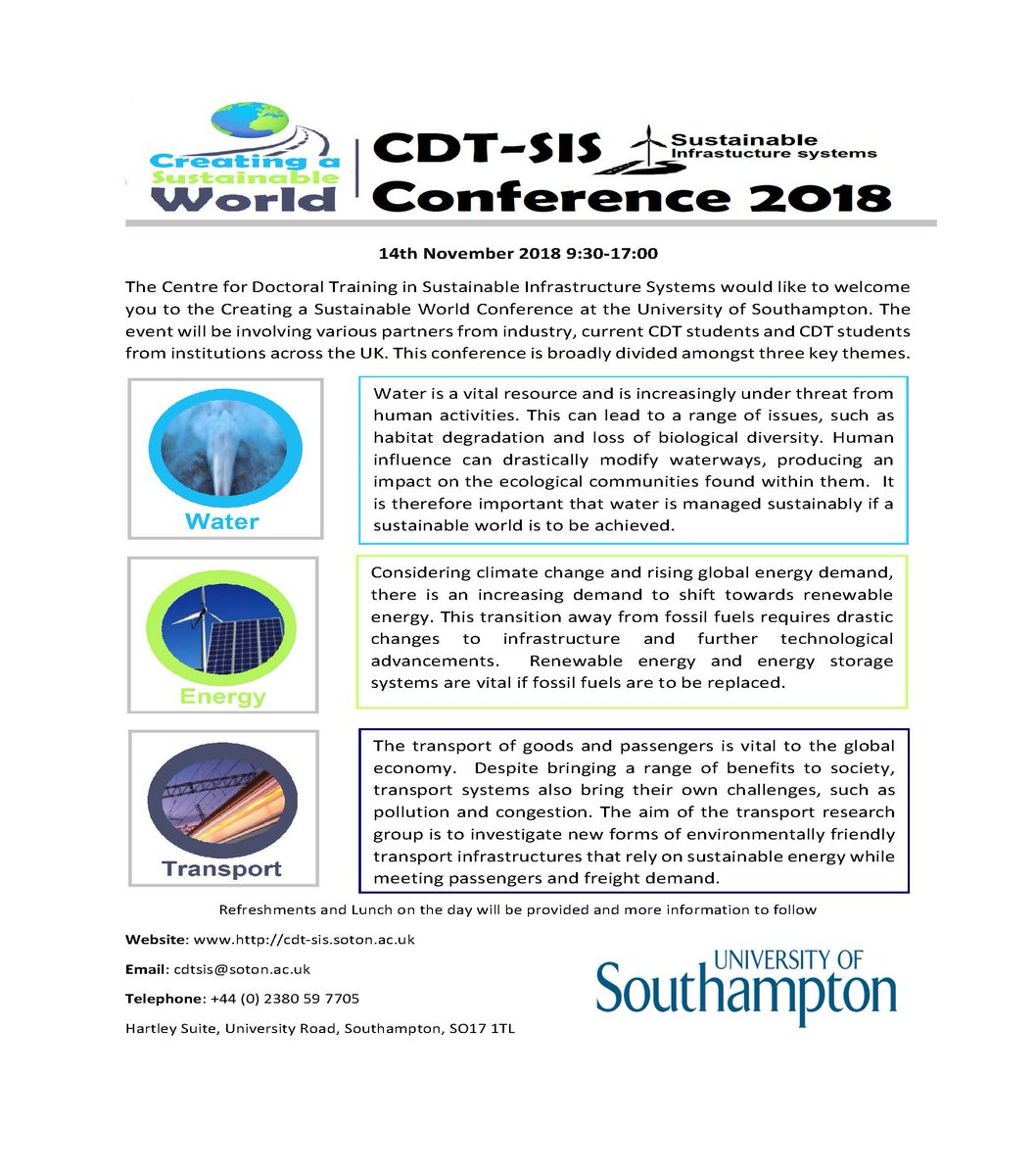 test Twitter Media - Remember to sign up to the @CDTConference we still have spaces for presenters, posters or if you would like to attend as general admission we have plenty of spaces remaining! Come and find out about how together we can create a sustainable world! @unisouthampton @SotonEngEnv https://t.co/oHAdmUp4Fs