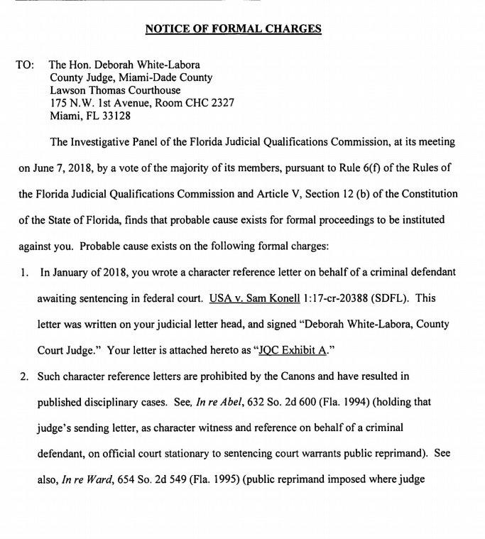 New miami judge deborah white labora agrees to reprimand for new miami judge deborah white labora agrees to reprimand for writing letter of support spiritdancerdesigns Choice Image