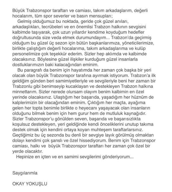 RT @beINSPORTS_TR: Okay Yokuşlu'dan veda mesajı https://t.co/ukl9E8HhcJ