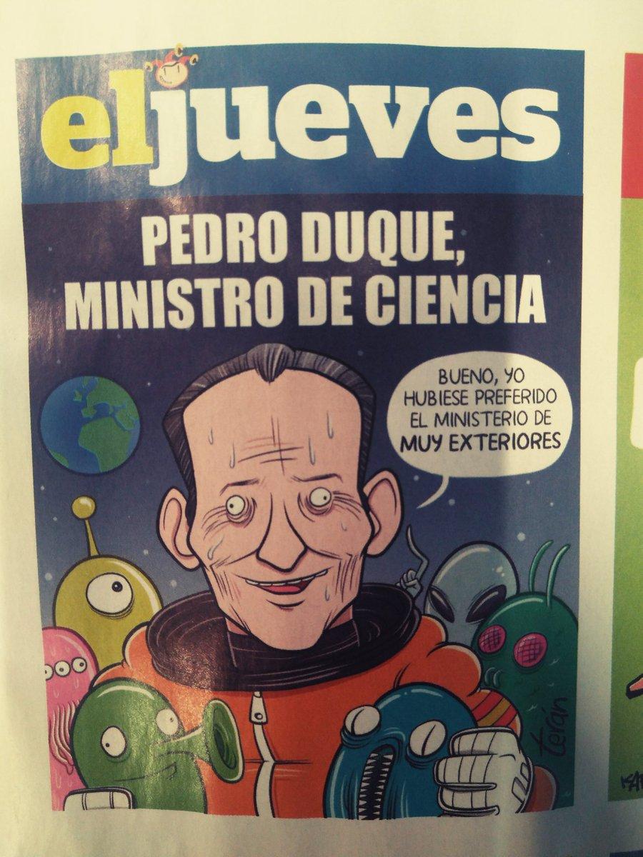 RT @_Javier_Flores: En @eljueves le han dedicado una portada al nuevo ministro de ciencia, @astro_duque https://t.co/vR7viWtkkw