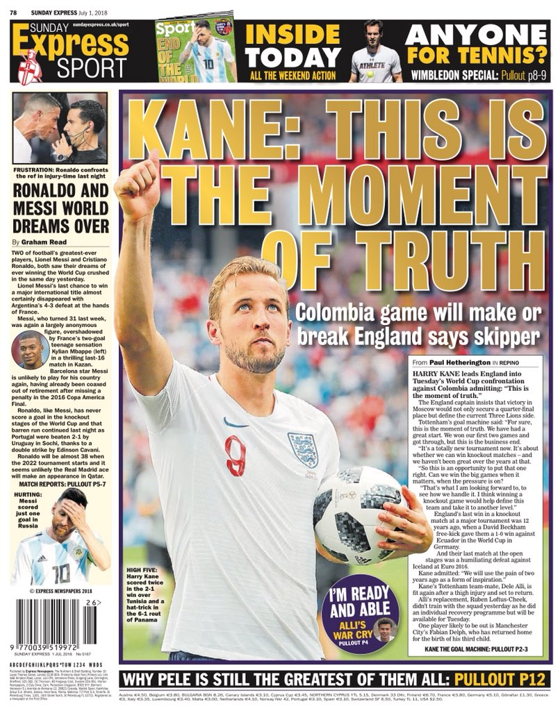"""Sunday EXPRESS Sport: """"Kane: This Is The Moment Of Truth"""" #bbcpapers #tomorrowspaperstoday https://t.co/6KLQFhDNkh"""