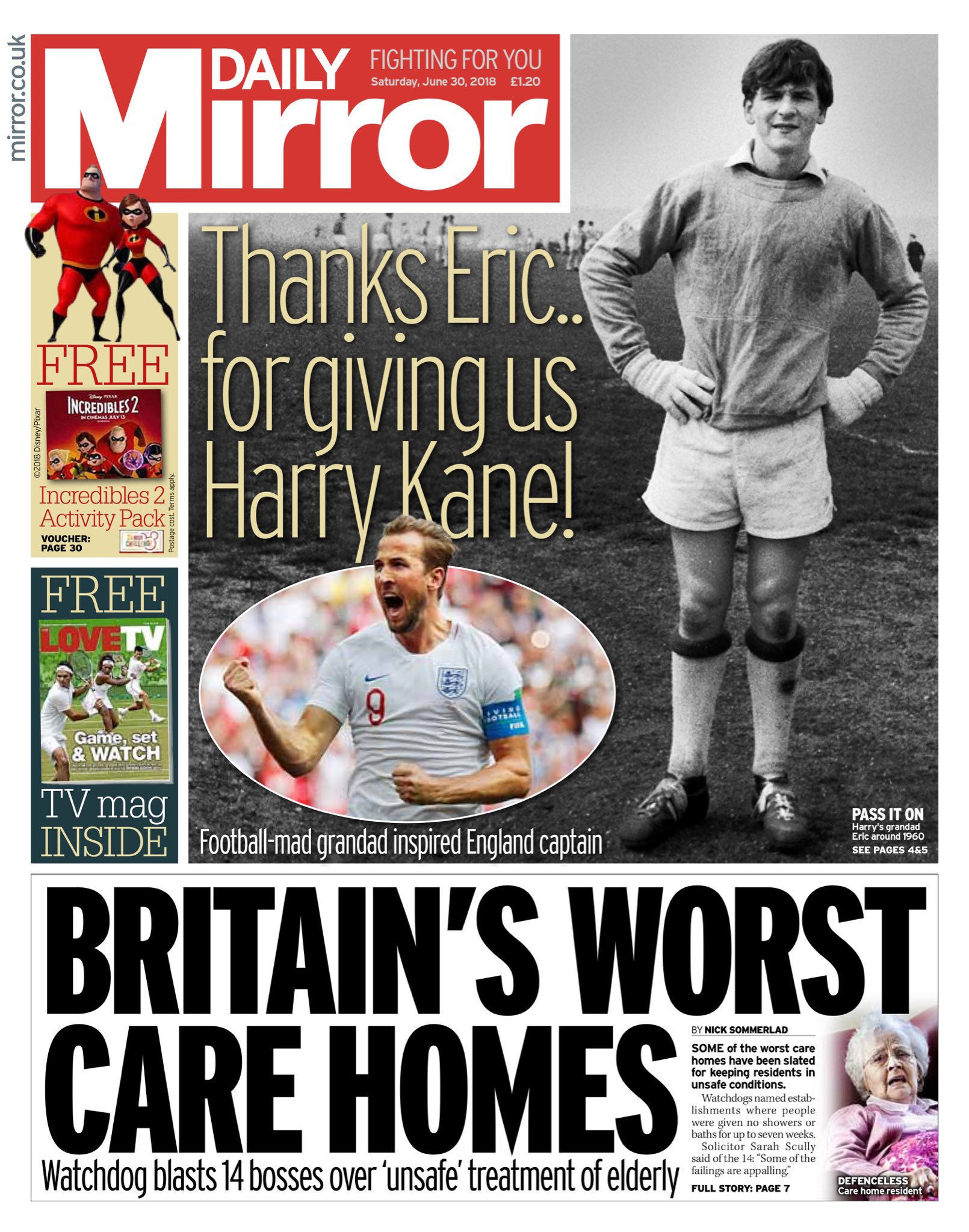 """Saturday's Daily MIRROR: """"Britain's Worst Care Homes"""" #bbcpapers #tomorrowspaperstoday https://t.co/2YJtds9G4h"""