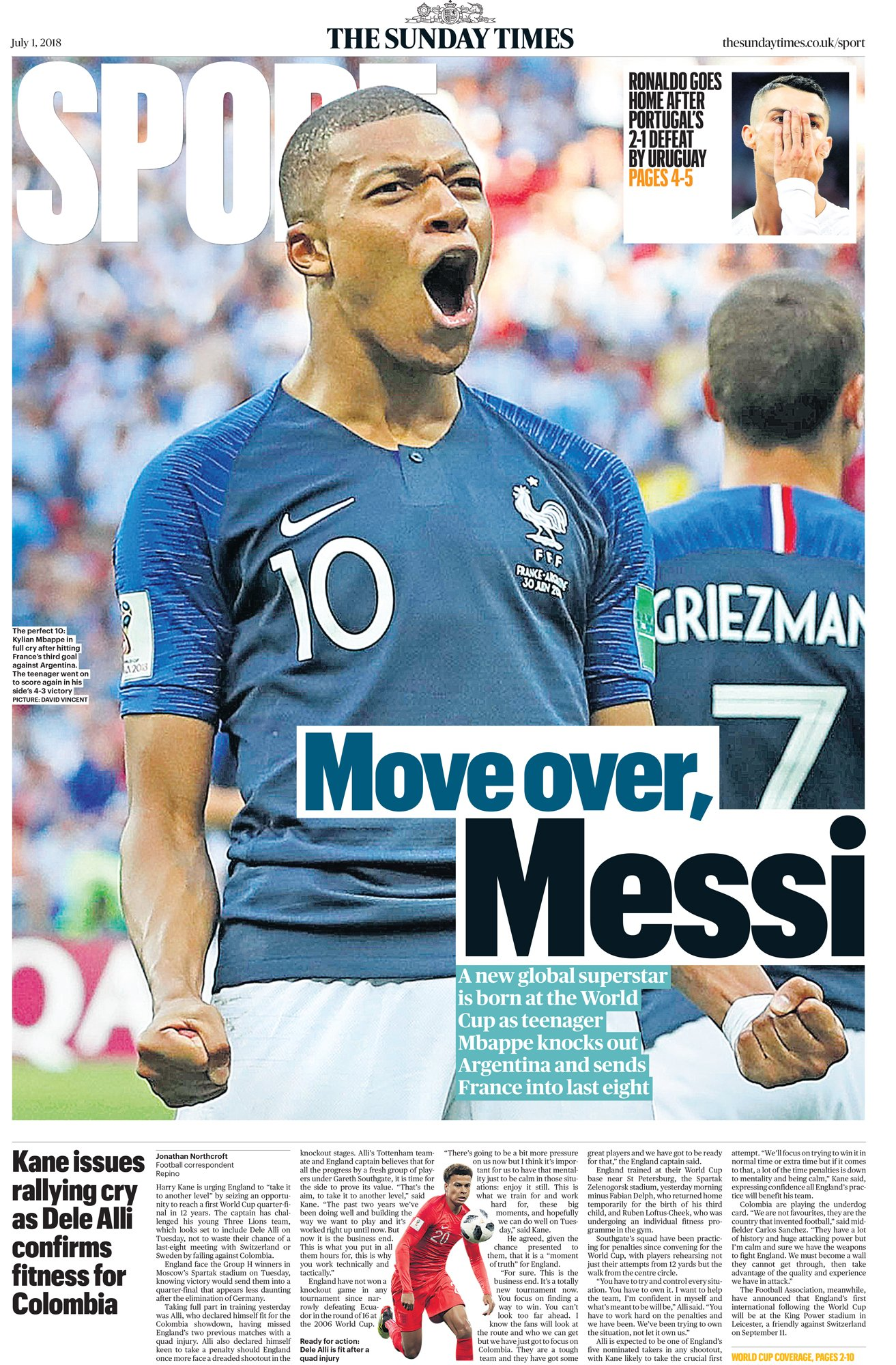 TOMORROW'S FRONT COVER | Move over Messi: Kylian Mbappe fires France past Argentina | Harry Kane issues rallying cry as Dele Alli confirmed fit for Colombia #tomorrowspaperstoday https://t.co/eSHp9oxgmO
