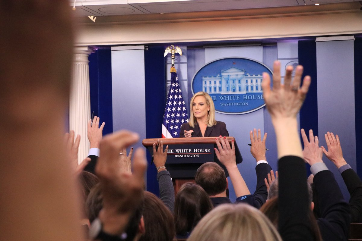 Great job today by Homeland Security @SecNielsen !!  Thank you for all you do.  We support you. https://t.co/Y83iHPPOaR