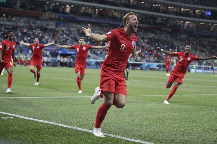 @BroadcastImagem: Harry Kane, da Inglaterra, comemora gol sobre a Tunísia pelo grupo G da Copa da Rússia. Thanassis Stavrakis/AP