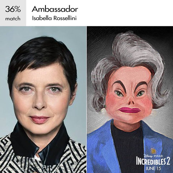 Happy 66th Birthday to Isabella Rossellini! The voice of Ambassador in Incredibles 2.