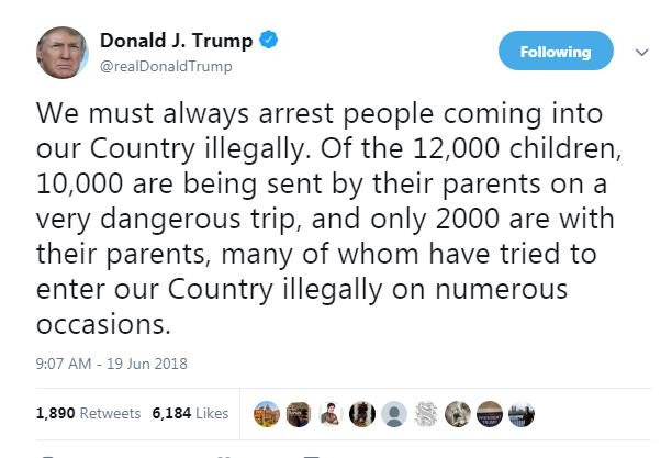 test Twitter Media - President @realDonaldTrump tweets about children trying to enter the United States illegally. Says 10,000 are being sent alone by their parents. https://t.co/U6ugqCvzNL