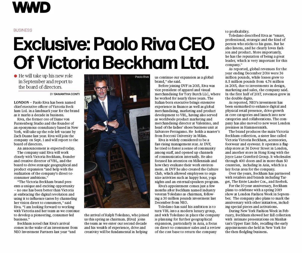Thank you @wwd and @SamContiWWD - I'm so thrilled to welcome Paolo Riva as our CEO x VB https://t.co/M4IPj03kiG